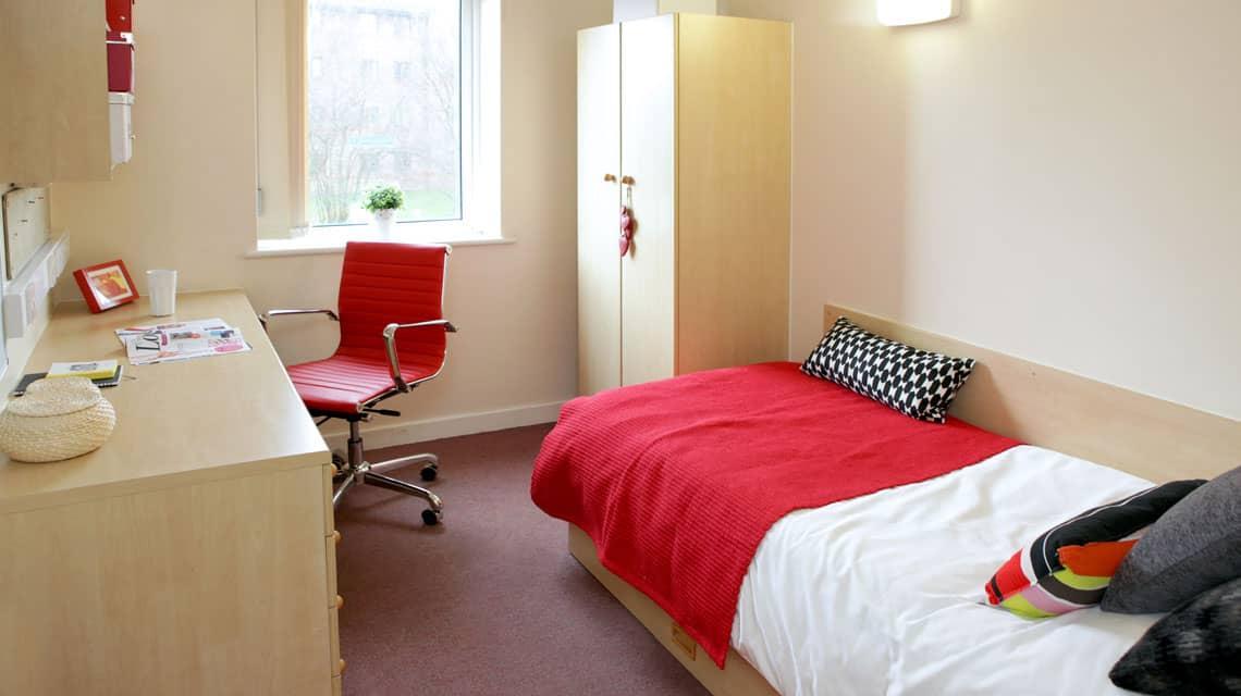 typical bedroom at Moor Lane Halls, Preston
