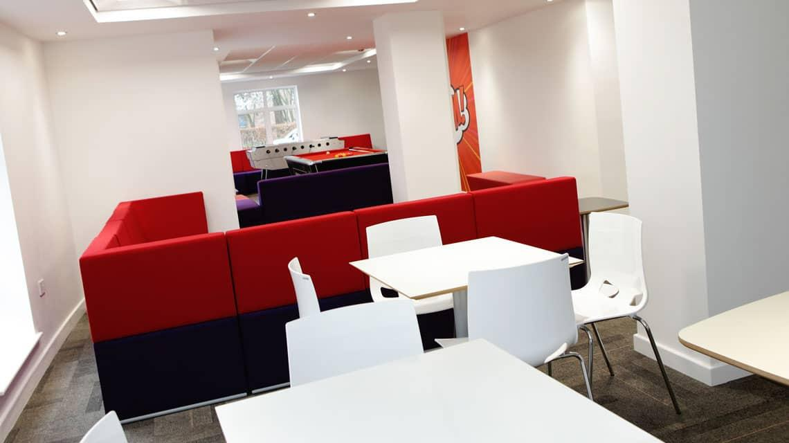Seating in the Moor Lane Halls common room