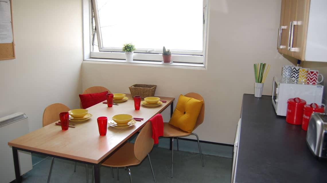 example shared kitchen and dining area at Paul Robeson House