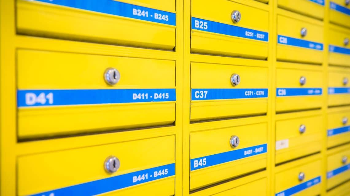 Post boxes at Paul Robeson House
