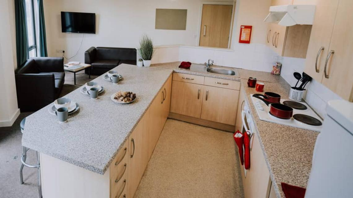 Example of a shared kitchen within Standard En-suite and Double En-suite flats.