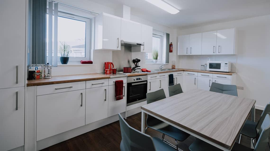 Example shared kitchen at Tramways, Salford.