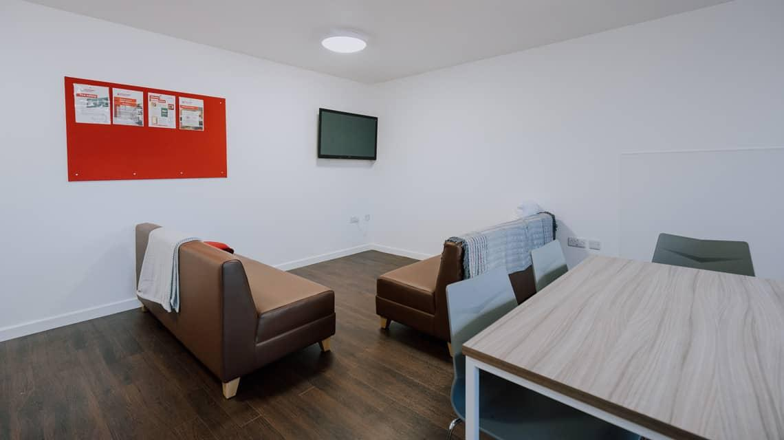 Example shared lounge area at Tramways, Salford.