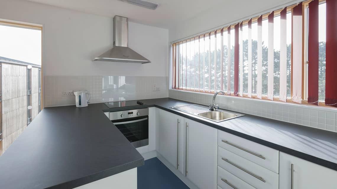 Typical shared kitchen at Treliske, Truro