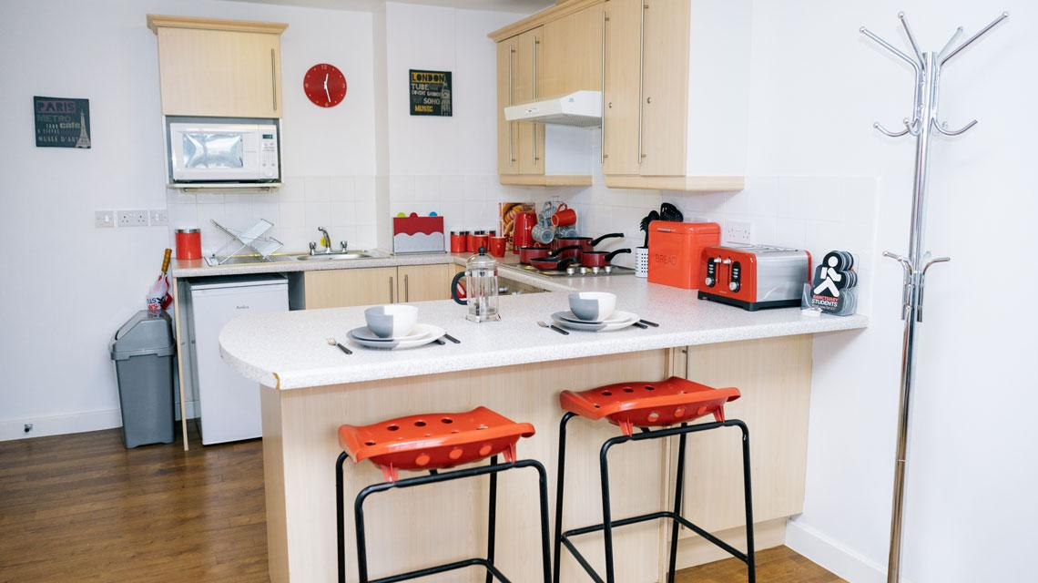 Example shared kitchen area at Wardley House