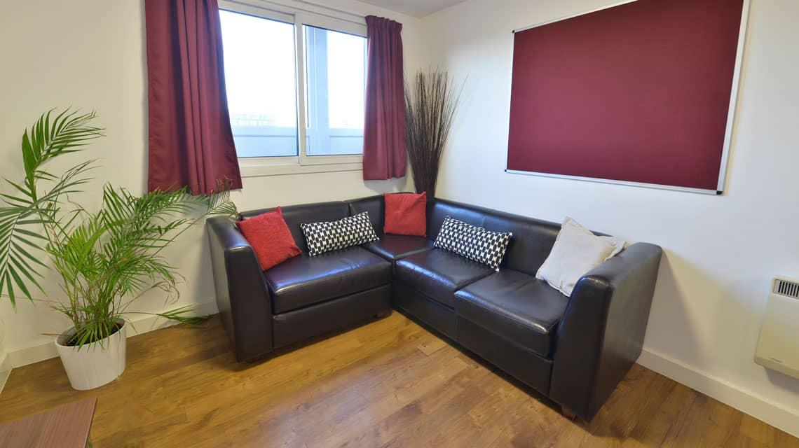 example shared lounge area at Wardley House, Bradford