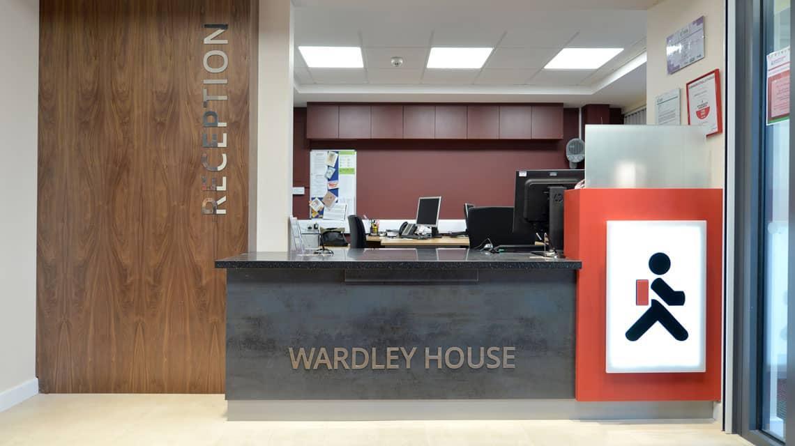 Reception desk at Wardley House, Bradford