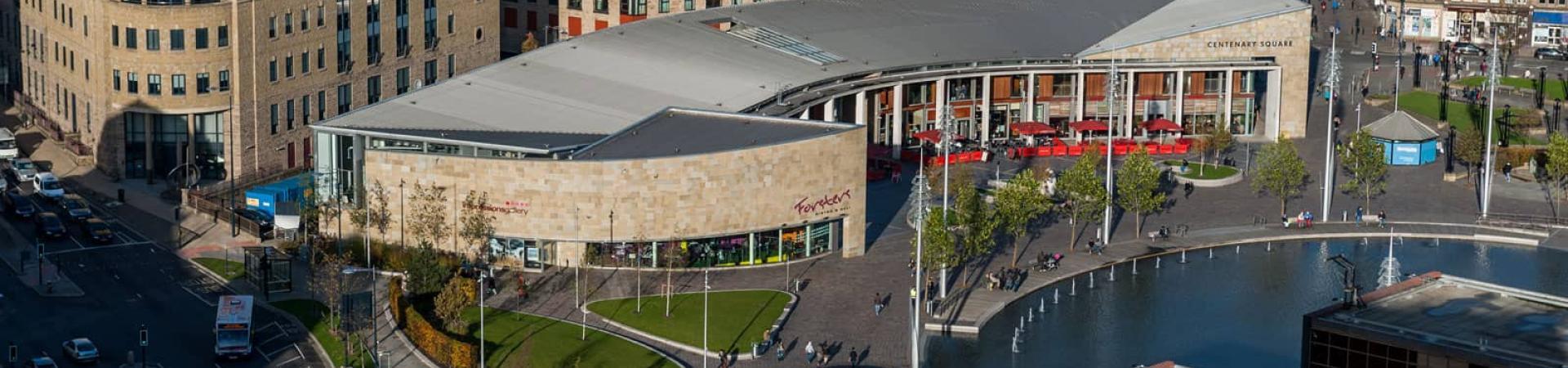aerial shot of Bradford city centre