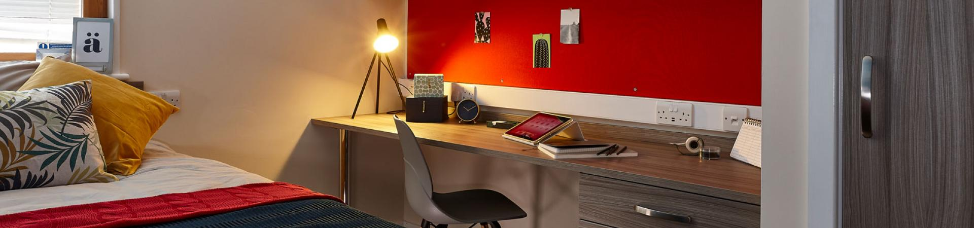 Close up of a desk area at Don Gratton House, London