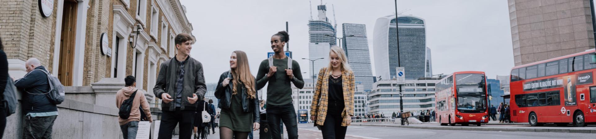 Students walking around London
