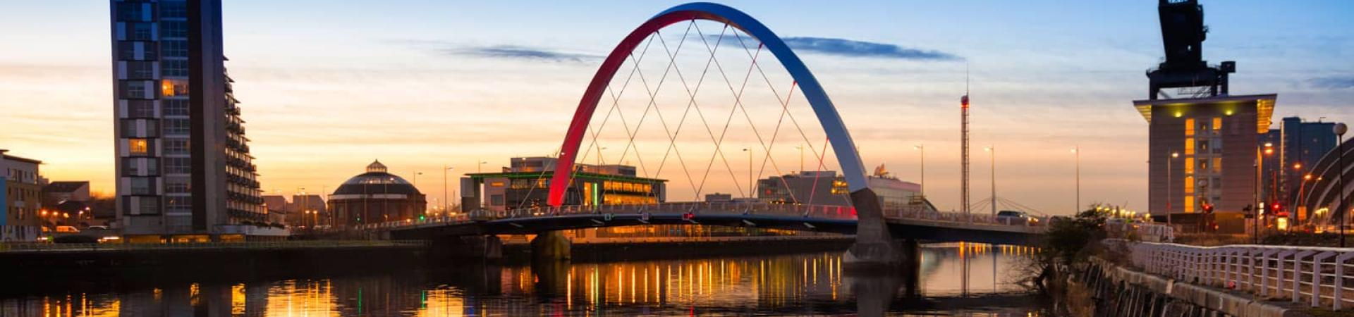 A landscape image of a bridge in Glasgow