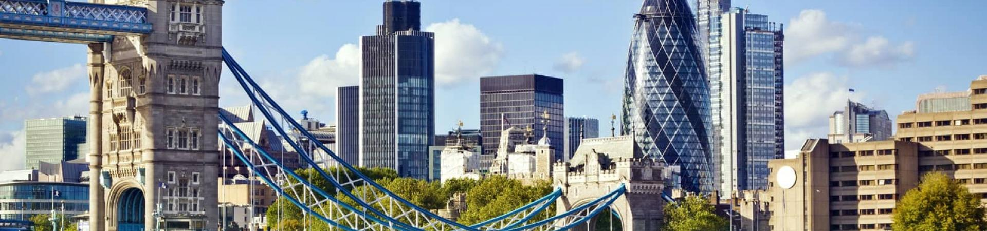 Cityscape of London including the Gherkin