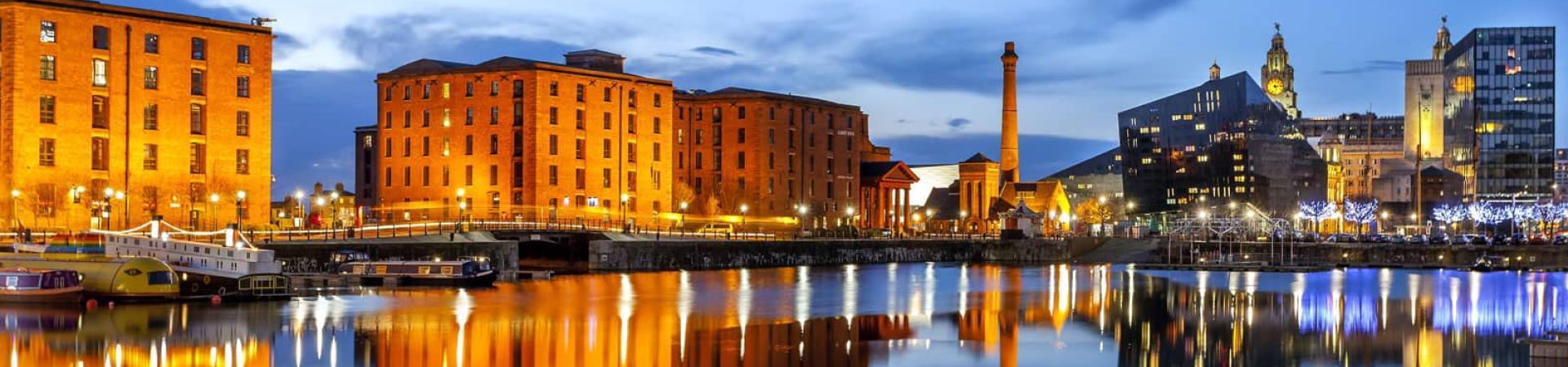 Liverpool docks lit up at night